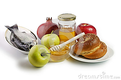 Apples, pomegranates, fish, challah and honey