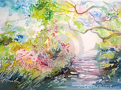Painting on silk. Dreamy forest with trail and person.