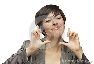 Smiling Mixed Race Young Adult Woman Hands Framing Face
