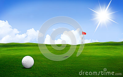 Golf ball on the course