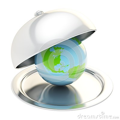 Earth globe on ceramic salver under a chrome food cover