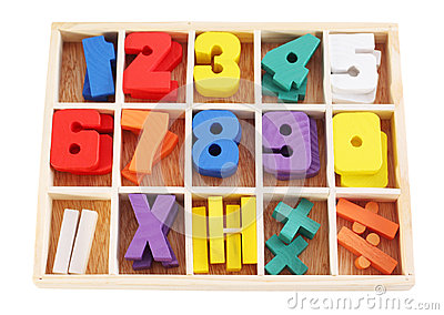 Colorful wooden numbers in box isolated