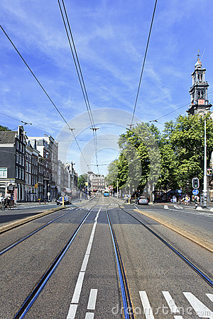 Tram Rails in Amsterdam Old Town
