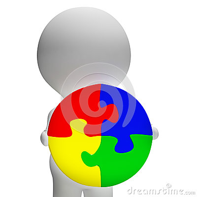 Jigsaw Solution And 3d Character Showing Solution Or Wholeness