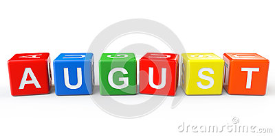 Cubes with August sign