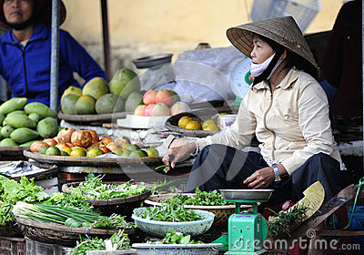 The woman in the Vietnam Market