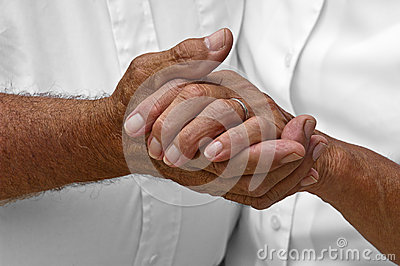 Senior Mature Elderly Couple Holding Hands, Love