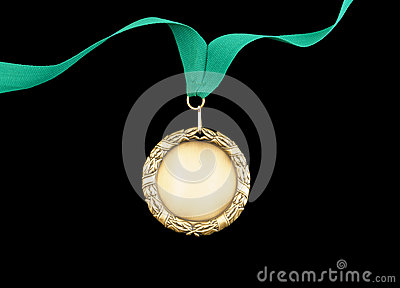 Gold medal with green ribbon