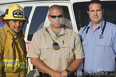 Portrait Of Firefighter, Traffic Cop And EMT Doctor