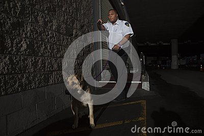 Security Guard In Alleyway Pursuit With Dog