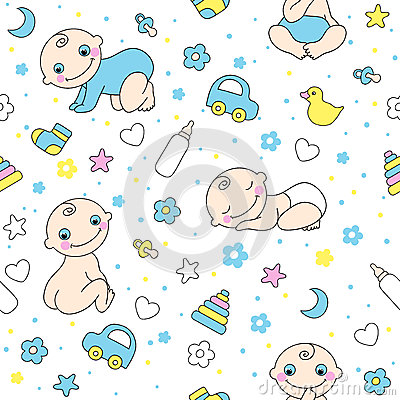 Seamless Pattern For Baby Boys