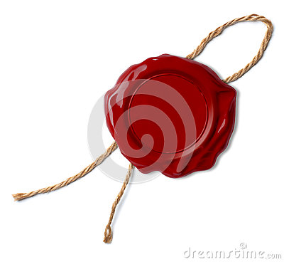 Red wax seal or stamp with rope or thread isolated