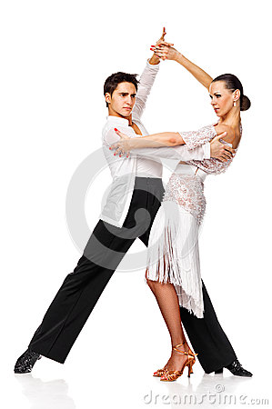 Sensual couple dancing salsa. Latino dancers in action