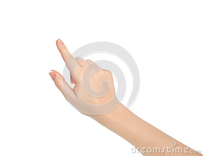 Isolated female hand touching pointing to something