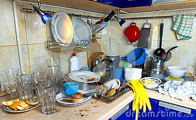 Dirty kitchen unwashed dishes