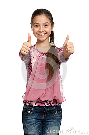 Girl showing thumbs up with both hands