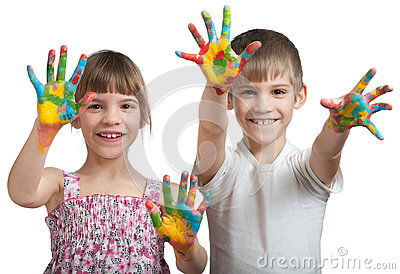 Kids show their hands soiled in a paint