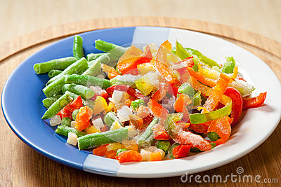 Frozen vegetables on the plate