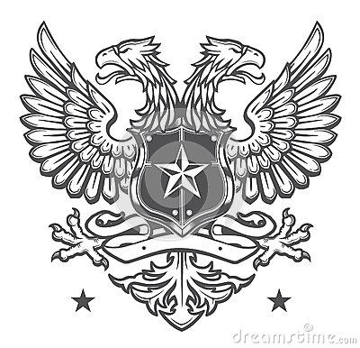 Double Headed Heraldic Eagle Crest On White