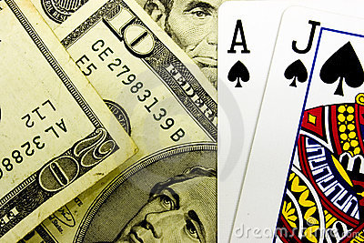 Casino Blackjack Poker Cards and Money