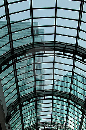 Glass Roofing with Skyscrapes