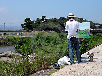 Painting on the riverside