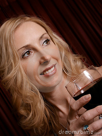 Enjoying a glass of red