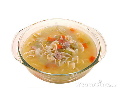 Food: Chunky Chicken Noodle Soup in Glass Cooking Dish