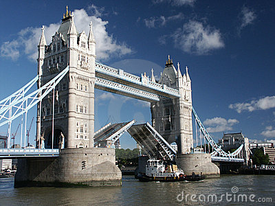 Tower Bridge with ship passing through