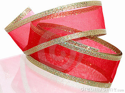 Decorative Red and Gold Ribbon