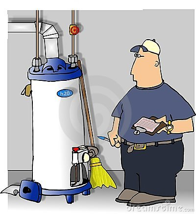 Serviceman checking a water heater