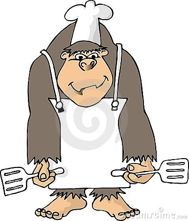Gorilla with an apron and 2 spatulas