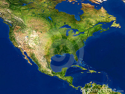 Earth view - map, North America