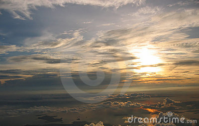Sunrise over cloudscape