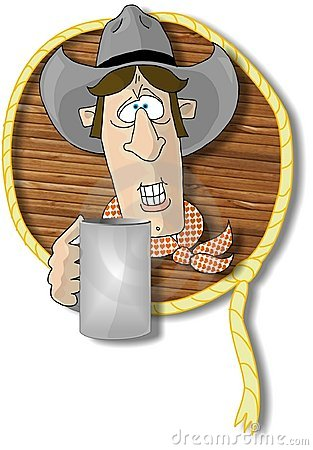 Cowboy head with a cup of coffee in a rope and wood frame