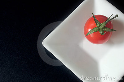 Tomato on a square dish