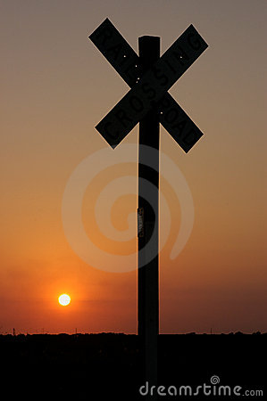 Sign at sunset