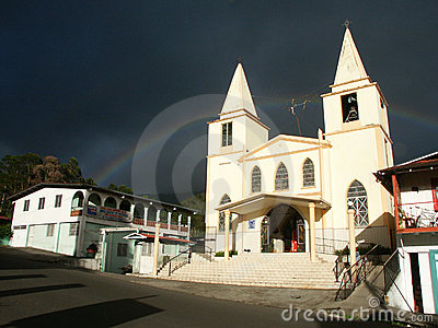 Baptist church with rainbow