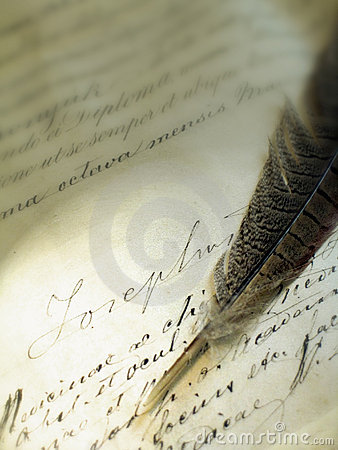 Old writing with a feather