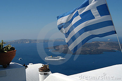 Greek flag and the sea