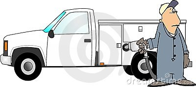 Filling a truck with gas