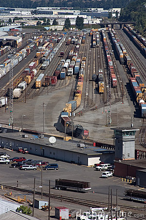 Railroad yard in Portland, Oregon