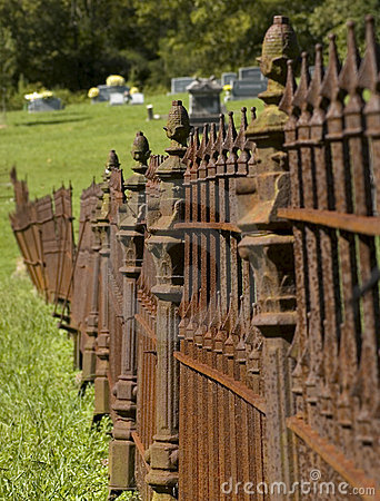 Rusty Iron Cemetary Fence