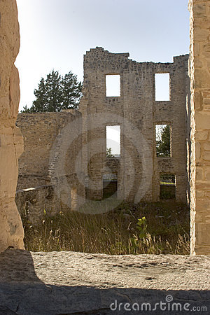 Ruins framed in a window.