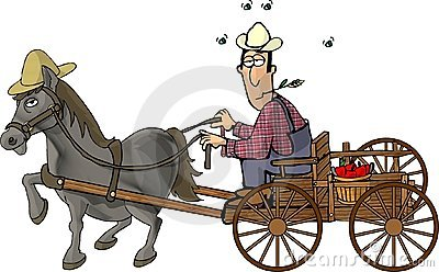 Farmer and his horse drawn wagon