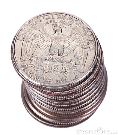 Isolated Quarter Dollar Coin Stack