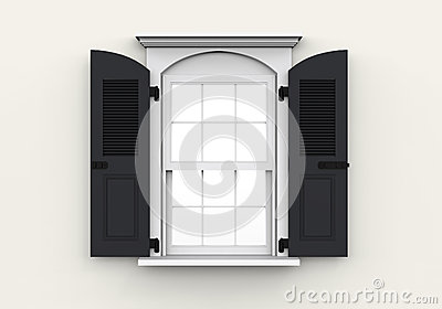 Opened Plastic Window on White Background