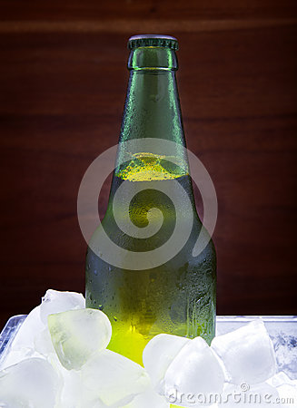 Green beer bottle freezing in ice tank