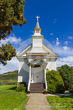 Close-up of a small white church in Rancho Nicasio, in Marin County California