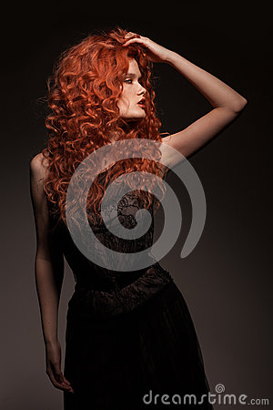 Redhead woman with long hair
